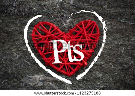 Love of money. Spanish peseta symbol on a red heart. Love theme #1123275188