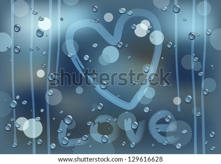 love on a rainy glass