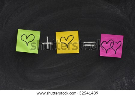 love or romantic relationship concept presented as mathematical equation with hearts, colorful sticky notes, white chalk on blackboard