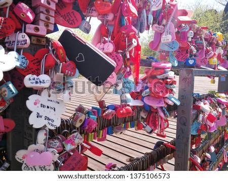 Love padlock at N Seoul Tower Seoul South Korea