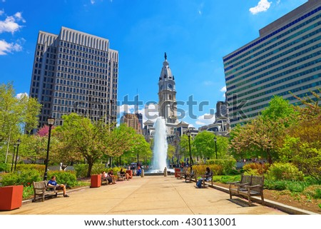 Love Park with Fountain and Philadelphia City Hall on the background. Tourists in the park. Pennsylvania, USA. #430113001