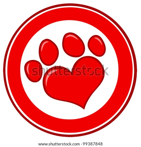 Love Paw Print Banner. Raster Illustration.Vector version also available in portfolio.