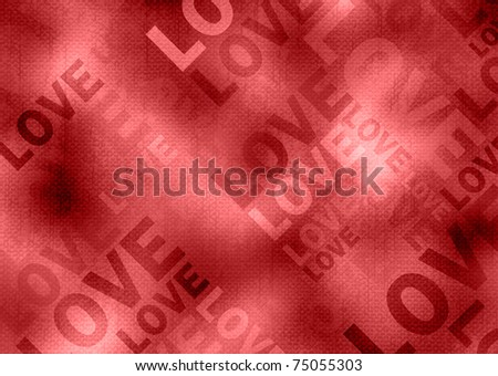 Love poster. Grunge style red background