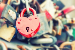 Love red romance lock on the bridge, instagram like filter