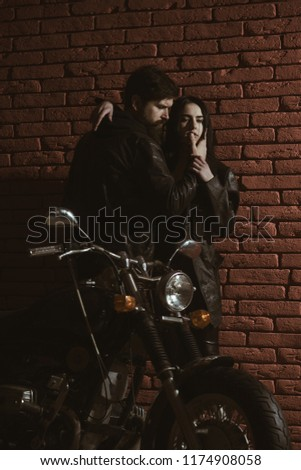 love relations. love relations of sexy couple. love relations concept. happy couple has love relations. biking is in blood