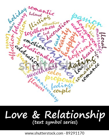 Love & Relationship info-text composed in the shape of love (cloud word / text symbol) suitable for greeting card decoration, Valentine's Day advertisement  and for related magazine articles