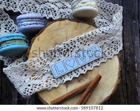 Love Rustic Concept Background On Wooden With Lace 589107812