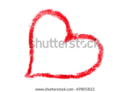 Love shape drawn with lipstick  on a white background