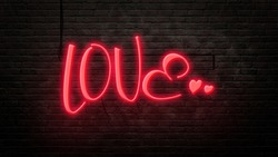 love sign emblem in neon style on brick wall background