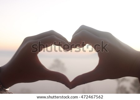 """free photos """"love sign"""" ,hand heart symbol in afternoon sunset sky"""