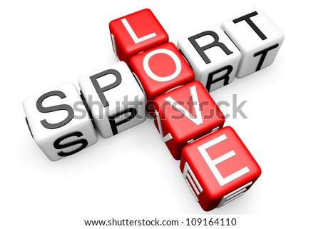 Sport Crossword on Love Sport Crossword Block Text On A White Background Stock Photo