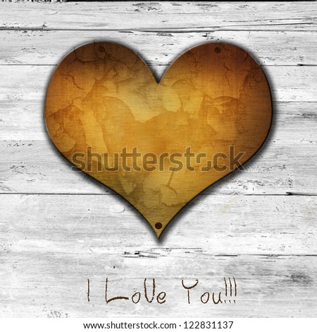 love symbol and word I love you on old wooden wall background