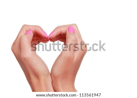 love symbol of woman hands