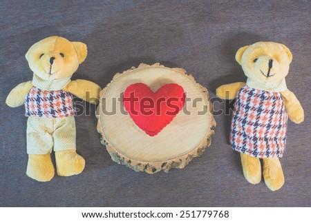 Love teddy bear couple, valentine concept, vintage style. #251779768