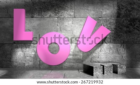love text on wall in concrete empty room