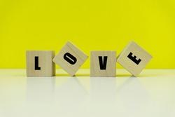 LOVE Text on Wooden Blocks.