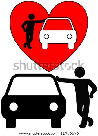Love the car! A symbol person as a loving car owner leans on a car, or a silhouette of a dealer or mechanic leaning on a car.
