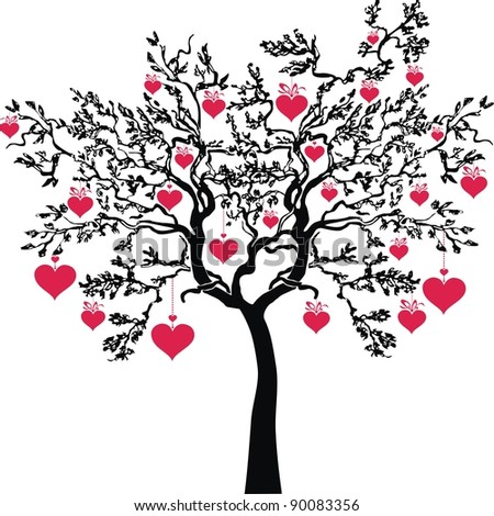 love tree isolated on White background. Happy valentine day card.  illustration