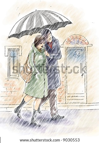 Love Under The Rain Stock Photo 9030553 : Shutterstock