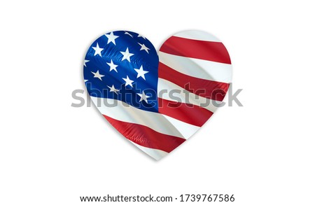 LOVE USA with American flag. 3d United States waving flag. LOVE Sign of USA seamless , 3d rendering. United States flag HD resolution Background. USA flag Closeup Full HD. United States flags