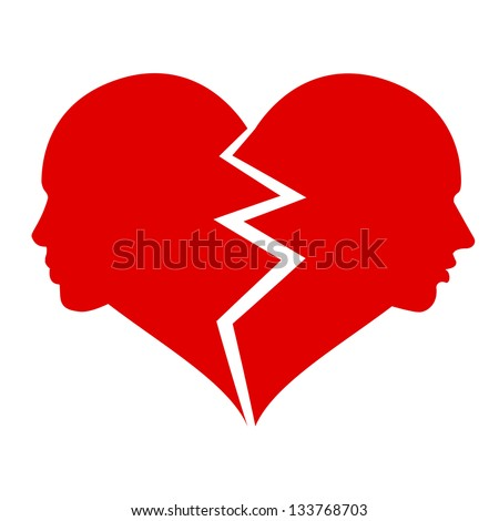 love ?? woman and man in the broken heart,