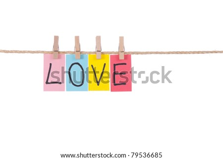 Love, Wooden peg  and colorful words series on rope