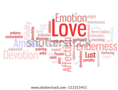 Love word cloud concept illustration, isolated on white background. Useful also as St. Valentine�s Day greetings card.