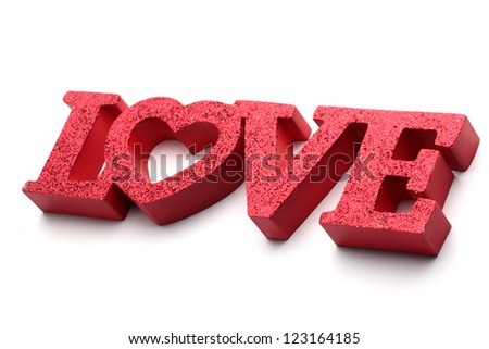 love word isolated on white background