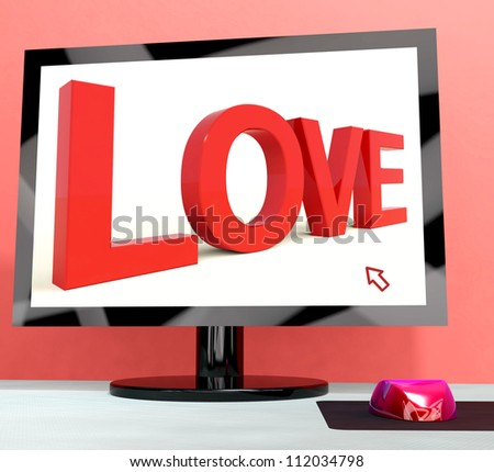 Love Word On Computer Screen Shows Online Dating