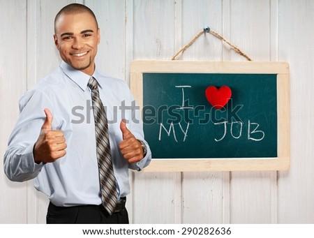 Love, work, chalkboard.