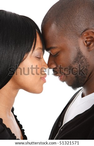 LOVE - Young African American Couple Closeup Portrait Isolated