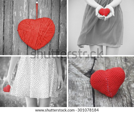 love young girl heart in hand black and white photo