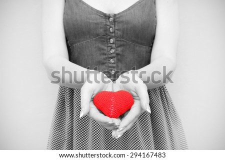 love young girl heart in hand black and white photo Vintage retro style