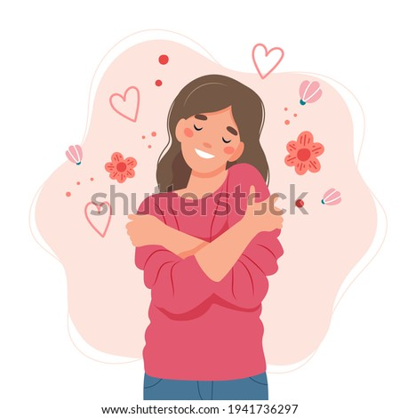 Love yourself concept, woman hugging herself, illustration in flat style