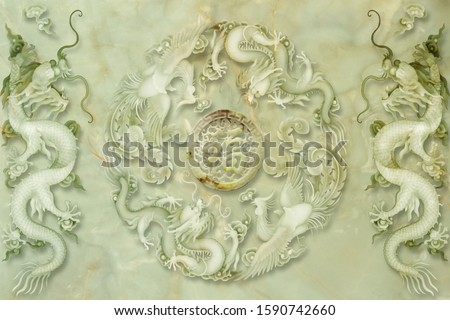 lovely art of pearl dragon and pearl phoenix with blessing word in the middle for floor, bottom, wall, TV backdrop, or receptionist backdrop decoration. 3D rendering Title translation: happiness