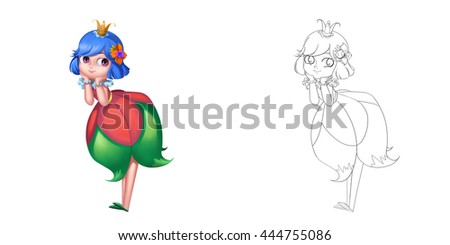 Stock Photo Lovely Attractive Cute Flower Fairy Princess. Coloring Book, Outline Sketch, Character Design isolated on White Background