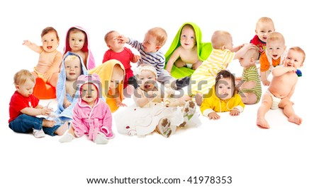 Lovely babies group - stock photo