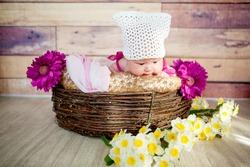 Lovely baby in basket