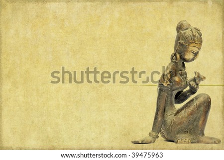 lovely background image with statue of indian girl. useful design ...