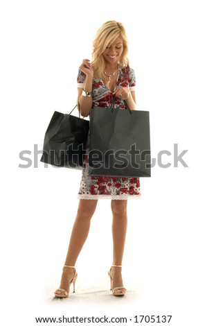 lovely beauty with shopping bags