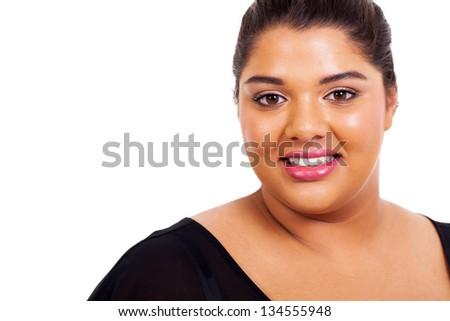 lovely big girl closeup headshot on white background
