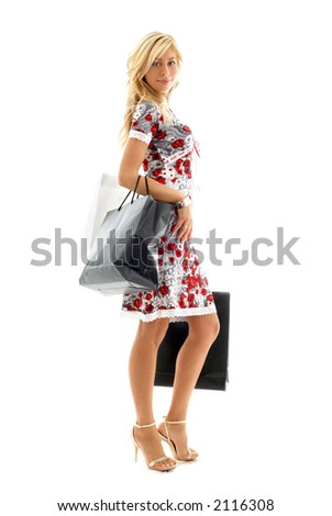lovely blond with shopping bags over white