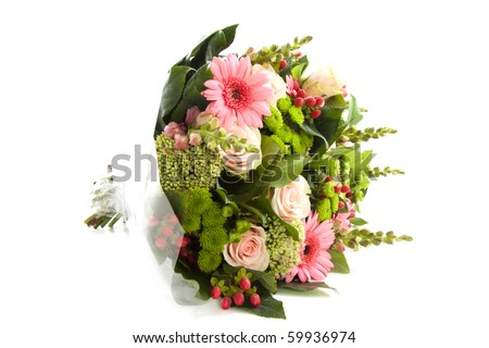 Lovely bouquet with different kind of flowers isolated over white
