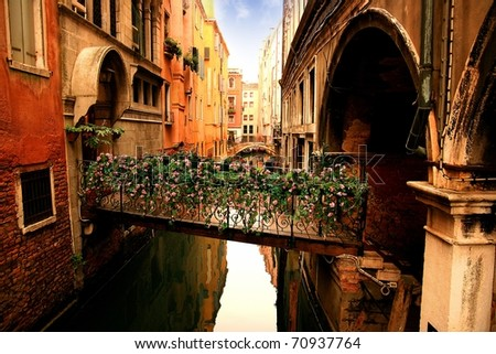 Lovely bridge on the canals of Venice