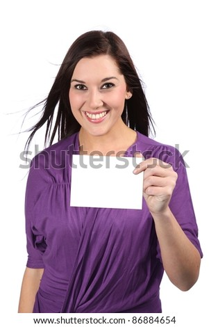 Lovely brunette woman with gorgeous smile holding a blank sign