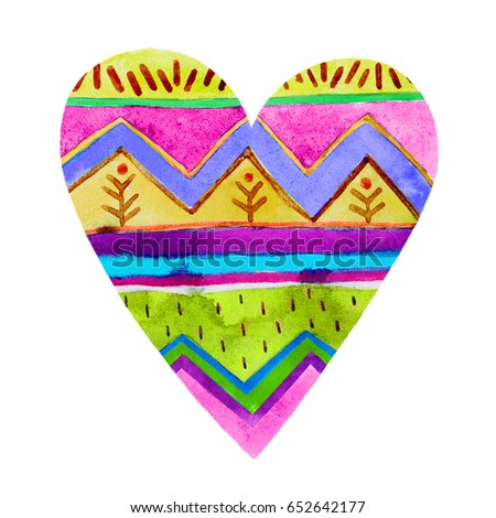 Lovely Cartoon Watercolor love heart valentines pattern.Colorful heart with geometric print illustrations isolated on white background.Perfect for valentines holiday.Good for love card, valentine day  #652642177