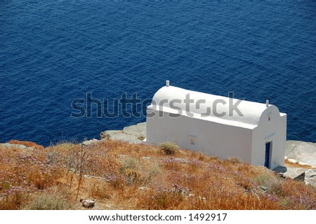 lovely chapel by the sea front in Greece