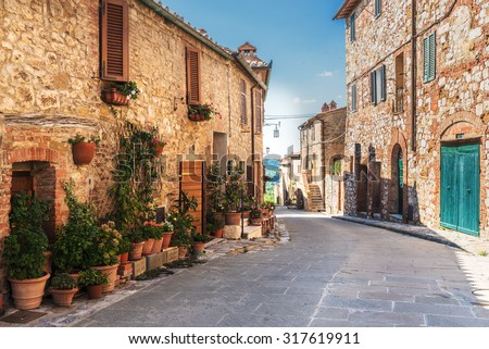 stock photo lovely colorful streets small town in tuscany italy 317619911 - Каталог — Фотообои «Улицы, переулки»