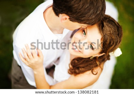 lovely couple on wedding day - soft focus