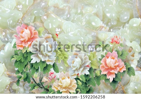 Lovely designing with pearl five flowers with pearl background for wall, TV backdrop, or receptionist backdrop decoration. 3D rendering